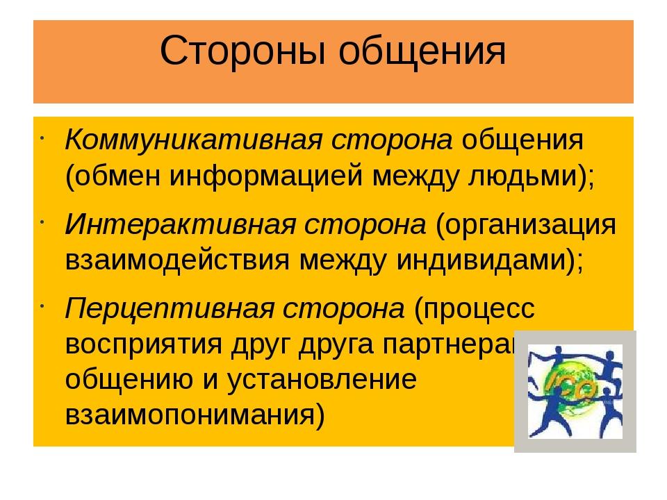 Стороны общения Коммуникативная сторона общения (обмен информацией между людь...