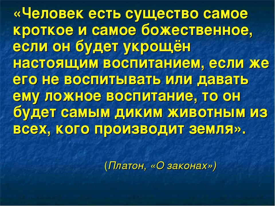 «Человек есть существо самое кроткое и самое божественное, если он будет укр...