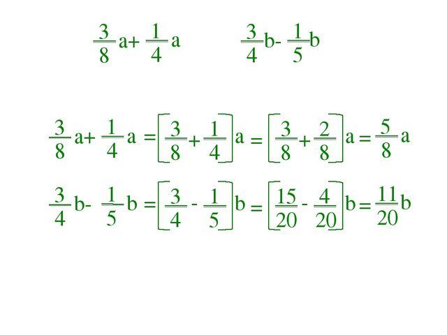 3 8 + 1 4 3 8 a+ 1 4 a 3 4 b- 1 5 b 3 8 a+ 1 4 a = a 3 8 + 2 8 = a 5 8 a = 3...
