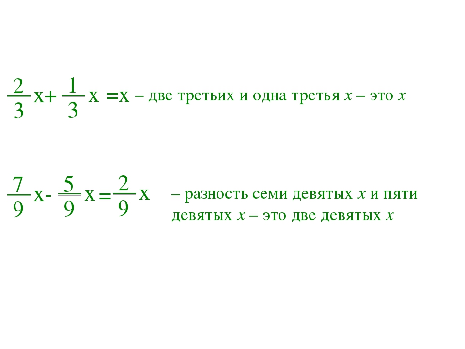 2 3 x+ 1 3 x =x – две третьих и одна третья x – это x 7 9 x- 5 9 x = – разнос...