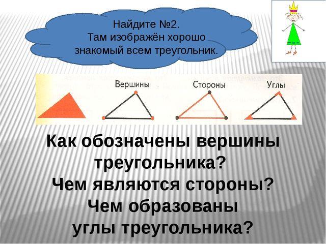Найдите №2. Там изображён хорошо знакомый всем треугольник. Как обозначены в...