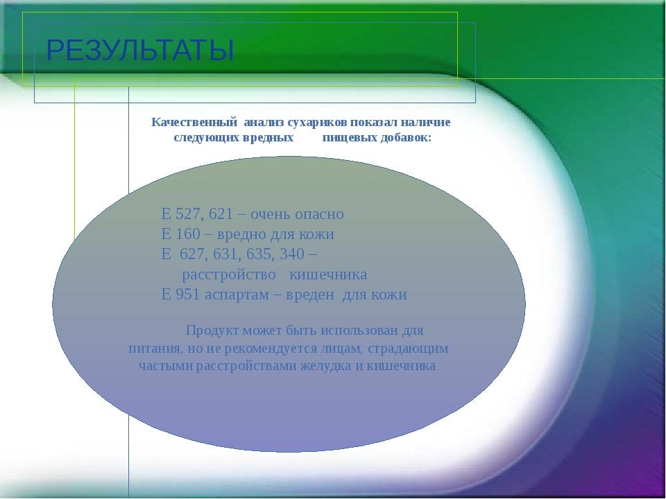 РЕЗУЛЬТАТЫ Качественный анализ сухариков показал наличие следующих вредных пи...