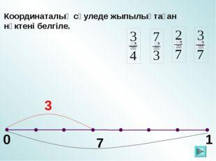 0 1 Координаталық сәуледе жыпылықтаған нүктені белгіле. 7 3