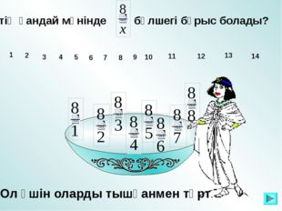 х-тің қандай мәнінде бөлшегі бұрыс болады? 1 10 11 12 13 14 2 3 4 5 6 7 8 9