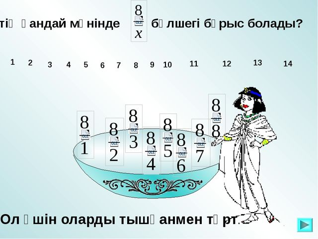 х-тің қандай мәнінде бөлшегі бұрыс болады? 1 10 11 12 13 14 2 3 4 5 6 7 8 9...