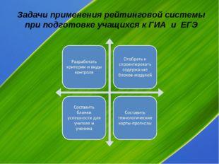 Задачи применения рейтинговой системы при подготовке учащихся к ГИА и ЕГЭ
