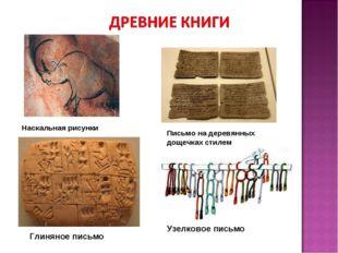 Наскальная рисунки Письмо на деревянных дощечках стилем Глиняное письмо Узелк