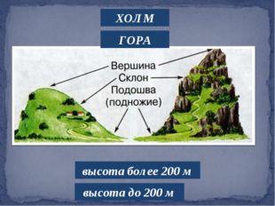 ХОЛМ ГОРА высота до 200 м высота более 200 м