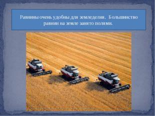 Равнины очень удобны для земледелия. Большинство равнин на земле занято полями.