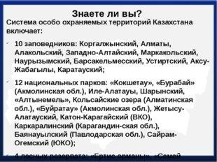 Знаете ли вы? Система особо охраняемых территорий Казахстана включает: 10 зап