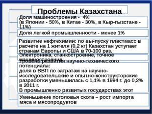 Проблемы Казахстана Доля машиностроения - 4% (в Японии - 50%, в Китае - 30%,