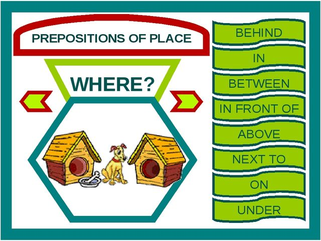PREPOSITIONS OF PLACE WHERE? BEHIND IN BETWEEN IN FRONT OF ABOVE NEXT TO ON U...