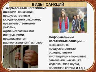 ВИДЫ САНКЦИЙ Формальныенегативные санкции-наказания, предусмотренные юридич