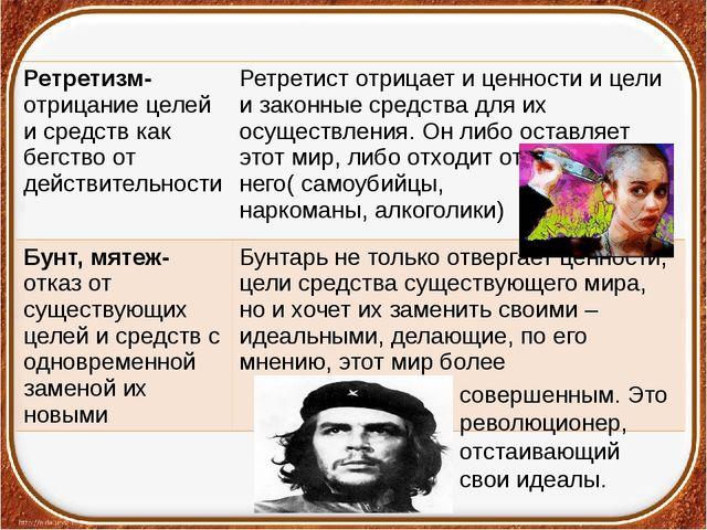 совершенным. Это революционер, отстаивающий свои идеалы. Ретретизм-отрицаниец...