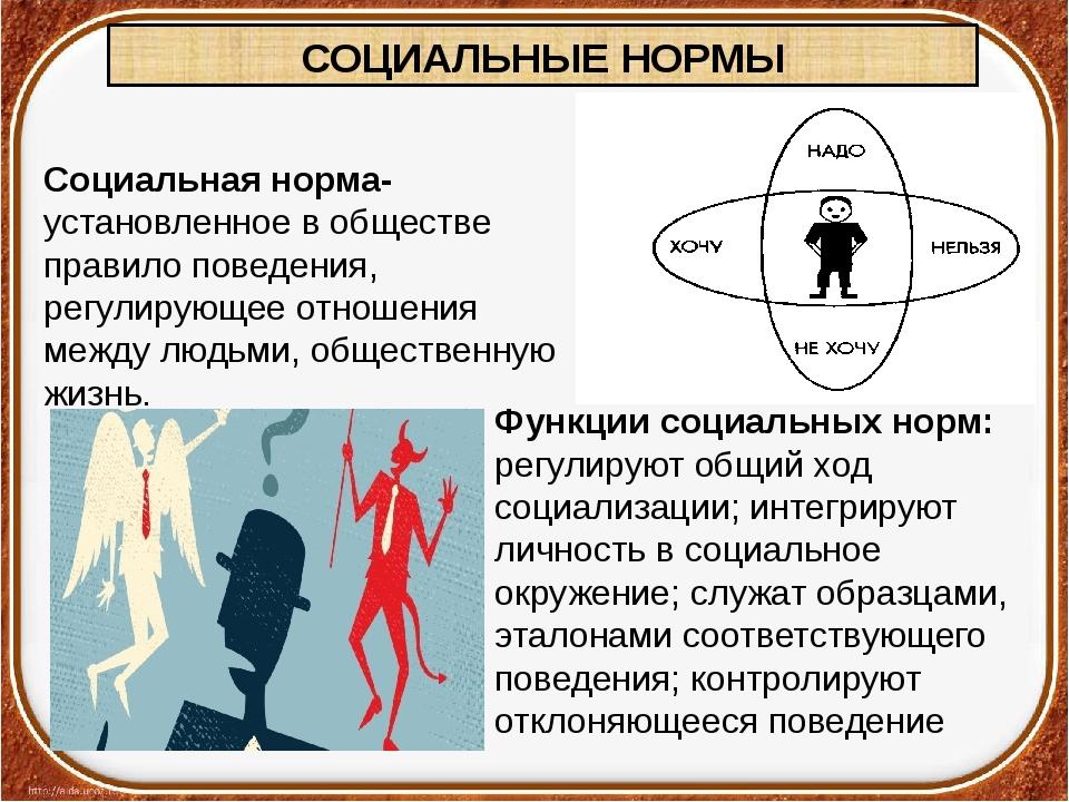 СОЦИАЛЬНЫЕ НОРМЫ Социальная норма- установленное в обществе правило поведения...