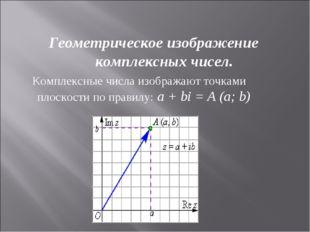 Геометрическое изображение комплексных чисел. Комплексные числа изображают т