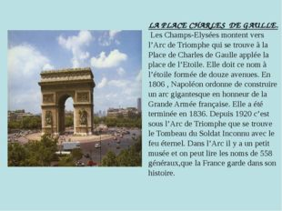 LA PLACE CHARLES DE GAULLE. Les Champs-Elysées montent vers l'Arc de Triomphe