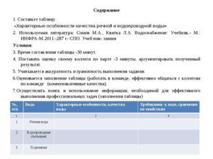 Содержание 1. Составьте таблицу. «Характерные особенности качества речной и в