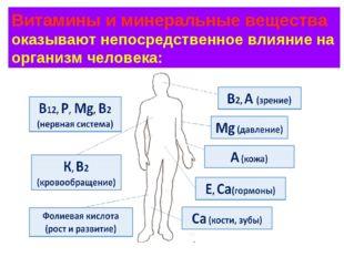 Витамины и минеральные вещества оказывают непосредственное влияние на организ