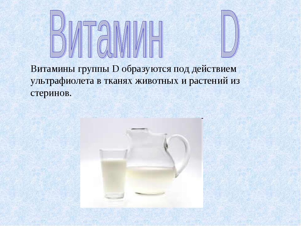 Витамины группы D образуются под действием ультрафиолета в тканях животных и...
