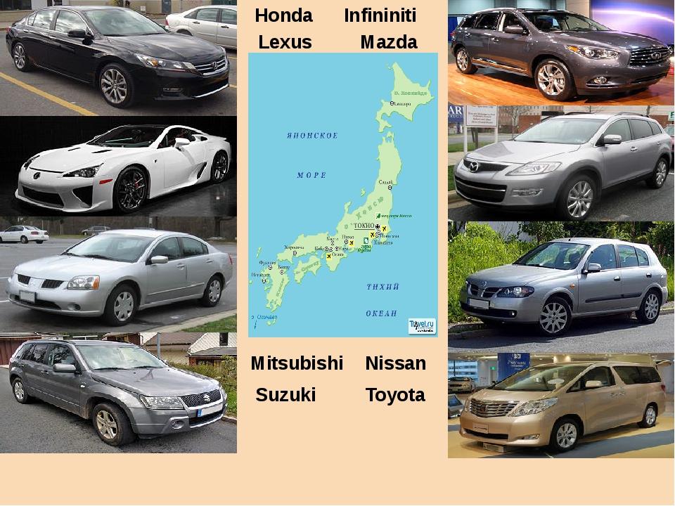 Honda Infininiti Lexus Mazda Mitsubishi Nissan Suzuki Toyota