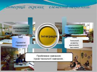 Інтеграції окремих елементів технологій: Інтеграція Зорові схеми-опори Інтера
