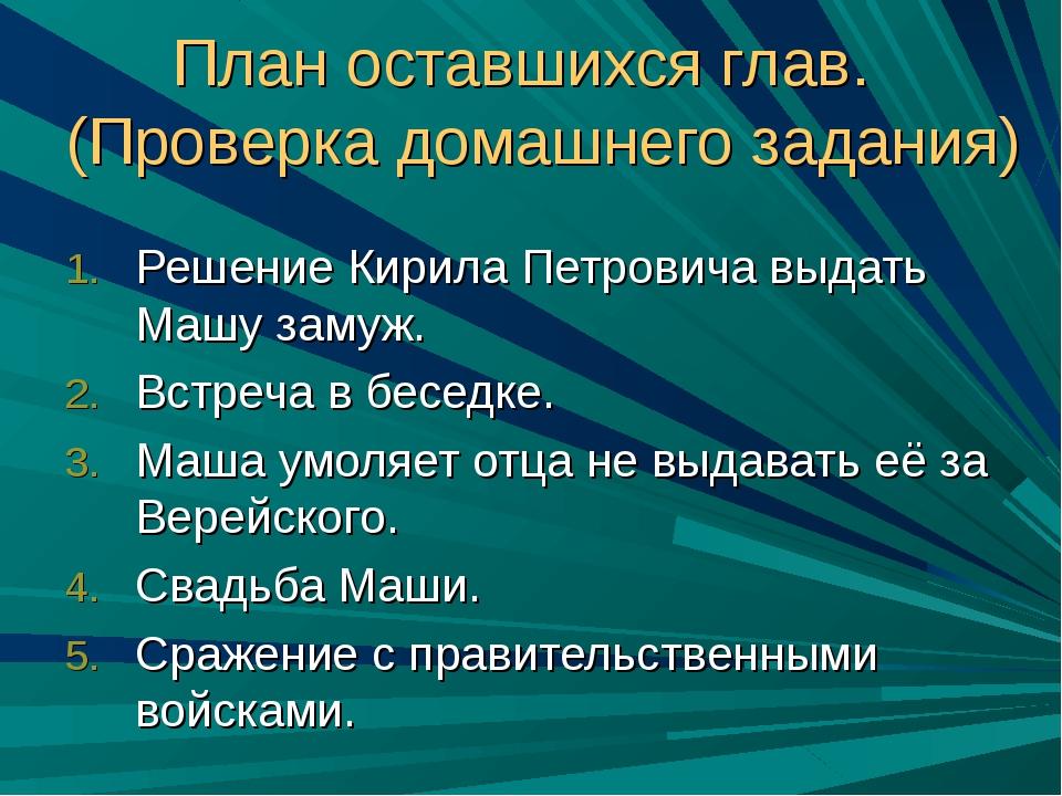План оставшихся глав. (Проверка домашнего задания) Решение Кирила Петровича...