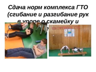 Сдача норм комплекса ГТО (сгибание и разгибание рук в упоре о скамейку и подн