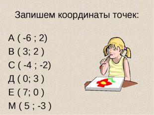 Запишем координаты точек: А ( -6 ; 2) В ( 3; 2 ) С ( -4 ; -2) Д ( 0; 3 ) Е (