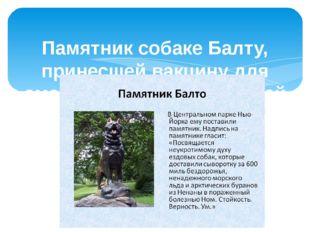 Памятник собаке Балту, принесшей вакцину для смертельно больных детей и спас