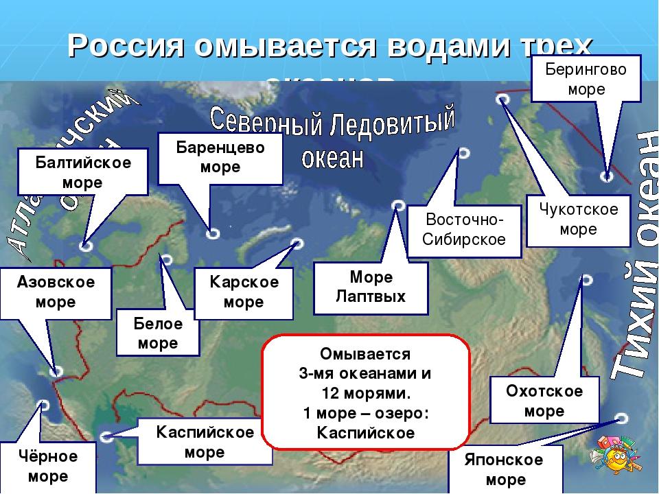 Россия омывается водами трех океанов Каспийское море Балтийское море Азовское...