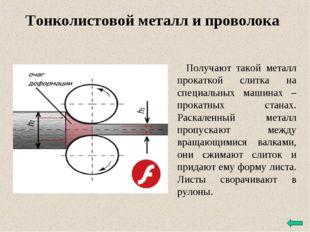Тонколистовой металл и проволока Получают такой металл прокаткой слитка на сп