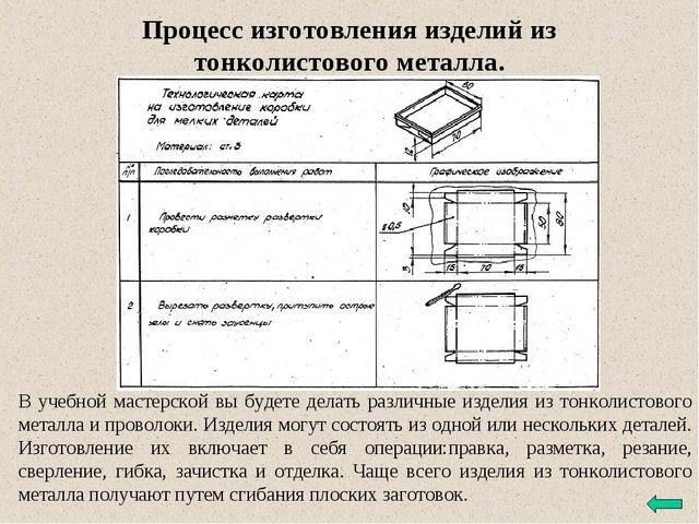 Процесс изготовления изделий из тонколистового металла. В учебной мастерской...