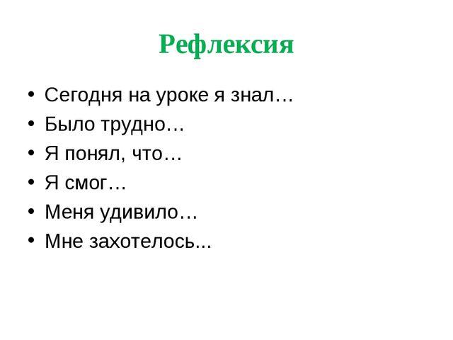Рефлексия Сегодня на уроке я знал… Было трудно… Я понял, что… Я смог… Меня уд...