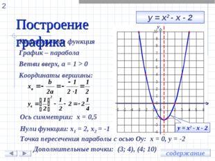 у = х2 - х - 2 Квадратичная функция График – парабола Ветви вверх, а = 1 > 0
