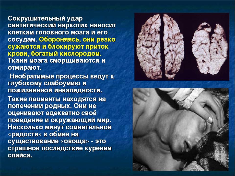 Сокрушительный удар синтетический наркотик наносит клеткам головного мозга и...
