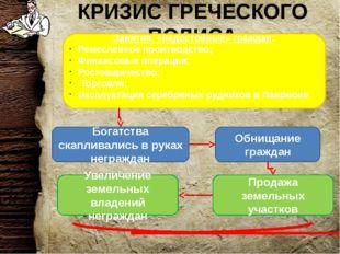КРИЗИС ГРЕЧЕСКОГО ПОЛИСА Занятия, «недостойные» граждан: Ремесленное производ