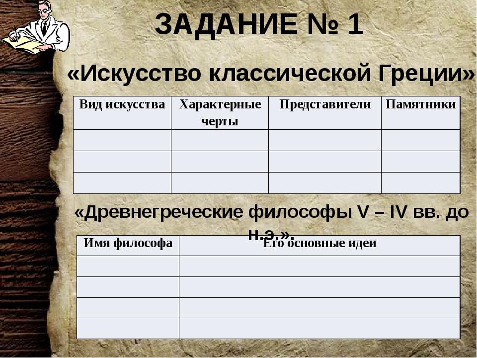 ЗАДАНИЕ № 1 «Искусство классической Греции» «Древнегреческие философы V – IV...
