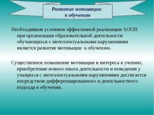 Необходимым условием эффективной реализации АООП при организации образователь