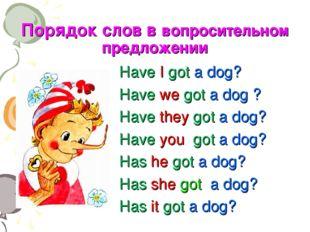 Порядок слов в вопросительном предложении Have I got a dog? Have we got a dog