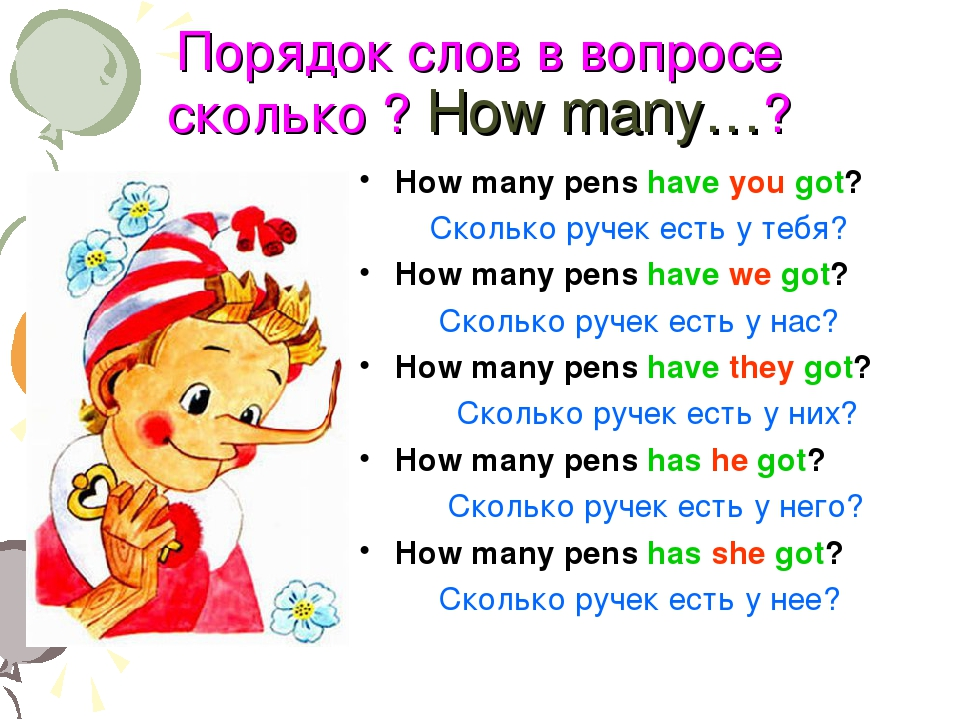 Порядок слов в вопросе сколько ? How many…? How many pens have you got? Сколь...
