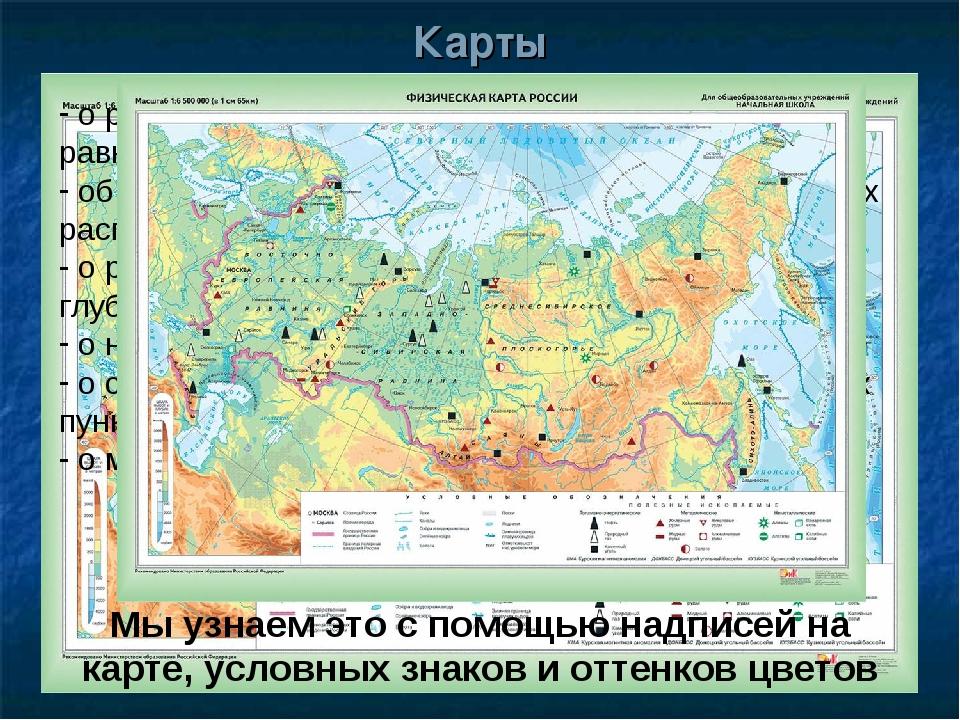 Карты о рельефе местности: горах, возвышенностях, равнинах, низменностях об о...