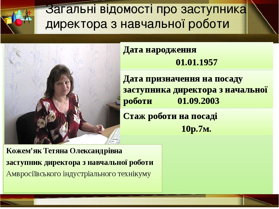 Дата народження 01.01.1957 Кожем'як Тетяна Олександрівна заступник директора...