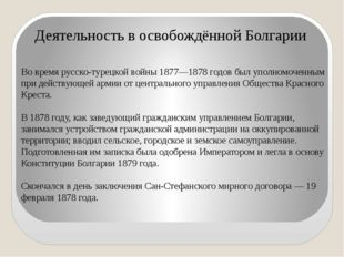 Во время русско-турецкой войны 1877—1878 годов был уполномоченным при действу