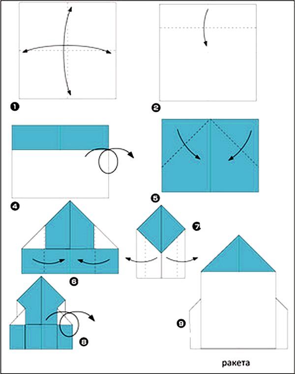 Сделать ракету из бумаги оригами
