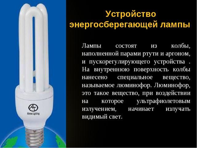 Устройство энергосберегающей лампы Лампы состоят из колбы, наполненной парами...