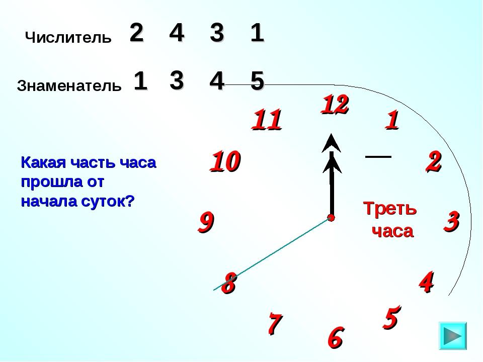 1 2 9 6 12 11 10 8 7 4 5 3 Числитель 2 3 4 Знаменатель 5 1 4 Какая часть часа...