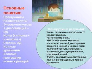 Основные понятия: Электролиты Неэлектролиты Электролитическая диссоциация – Э