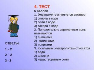 4. ТЕСТ 5 баллов 1. Электролитом является раствор 1) спирта в воде 2) соли в