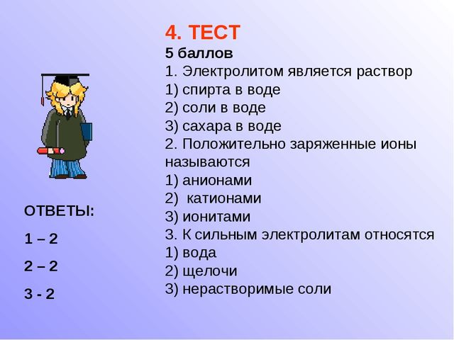 4. ТЕСТ 5 баллов 1. Электролитом является раствор 1) спирта в воде 2) соли в...